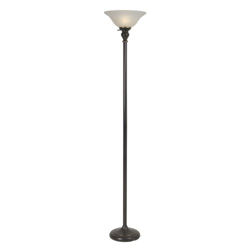 Home Source Industries LMP4243 Traditional Floor Lamp with Alabaster Glass Shade, 72-Inch Tall, Black (Torchiere Alabaster)