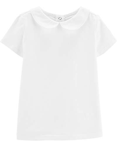 Osh Kosh Girls' Toddler WBO Tops, White Peterpan, 4T