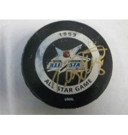 Signed Selanne, Teemu 1999 Tampa Bay All-Star Game Official Game Hockey Puck. Puck has wear and and ink stains. autographed