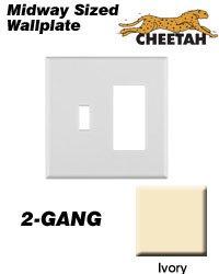 leviton p126cc0i wallplate 2gang 1toggle 1decora cheetah midway