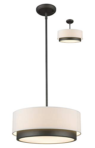 - Z-Lite 196-16 3 Light Convertible Pendant, Factory Bronze
