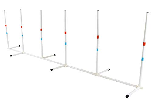 Midlee Dog Agility Weave Poles - Portable Canine Training Equipment - Outdoor Hurdle Games, Weaving Exercise, Running Practice - Best Yard Obstacle Course Supplies - Light Weight with Carrying Bag