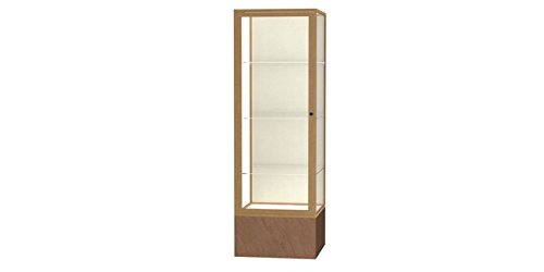 (Monarch Series Floor Display Case Base Color: Beige Stone, Frame Color: Champagne Gold, Case Backing: Plaque Fabric )