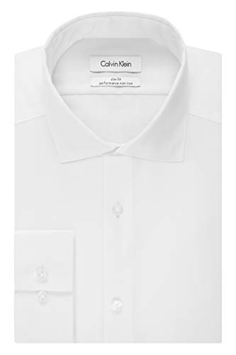 Calvin Klein Men's Non Iron Slim Fit Herringbone Spread Collar Dress Shirt, White, 17.5