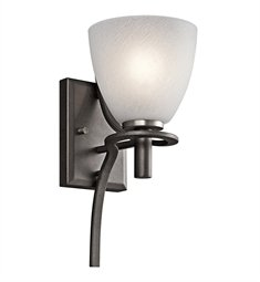 Kichler  43030AVI Neillo 1-Light Wall Sconce, Anvil Iron Finish with Textured Feather Glass