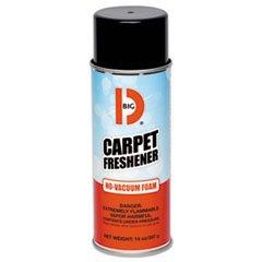 Big D Industries No-Vacuum Carpet Freshener, Foam, Fresh Scent, 14 oz Aerosol, 12/Carton