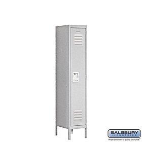 Salsbury Industries Assembled 1-Tier Standard Metal Locker with One Wide Storage Unit, 5-Feet High by 18-Inch Deep, Gray by Salsbury Industries