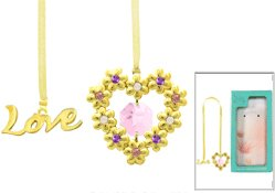 24k Gold Plated Blooming Love/heart Bookmark with Pink Swarovski Element Crystal