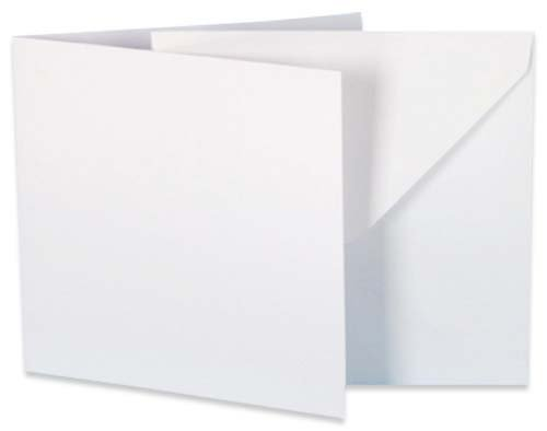 Large Square Card Blanks, White Silk 350gsm & Envs 6 (25 pack) The Paperbox