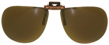 Polarized Clip-on Flip-up Plastic Sunglasses - Aviator - 58mm Wide X 52mm High (134mm Wide) - Polarized Brown Lenses