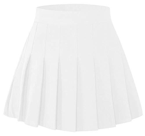 (SANGTREE Toddler Little & Big Girls' Short Solid Plain Pleated School Uniform Cosplay Costume Skirt, White, 4-5 Years/Height 47.2