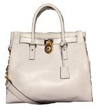 Michael Kors Hamilton Large NS Tote Python Embossed Optic White Leather