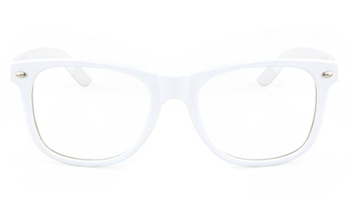 Retro Horned Rim Retro Classic Nerd Glasses Clear Lens (White, - White Glasses Nerd