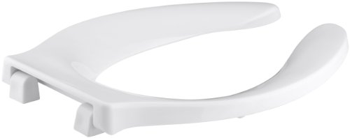 Strong Hold Elongated Toilet Seat (KOHLER K-4731-SC-0 Stronghold Elongated Toilet Seat with Self-Sustaining Check Hinge and Integrated Handle, White)