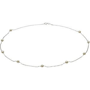 14 K Blanc perle station 17,8 cm Collier