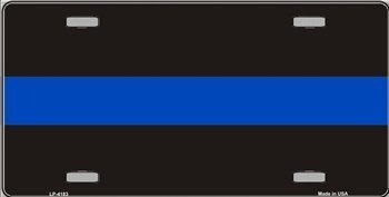 Thin Blue Line Metal License Plate Police Officers ()