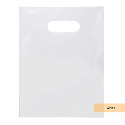 (ClearBags LDPE Solid Handle Bag | Size 9 in x 12 in | Merchandise Bag with Die Cut Handles Tear Resistant Strength | Perfect for Trade Shows, Retail, and More (100 Bags, White))