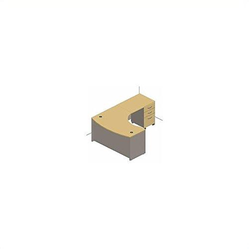 Bush Business Series C 3-Piece Right Bow-Front L Desk in Auburn Maple