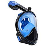 adepoy Full Face Snorkel Mask, Snorkeling Mask for Adults and Kids with Detachable Camera Mount, 180 Degree Large View Dry Top Set Anti-Fog Anti-Leak Blue-Black L/XL