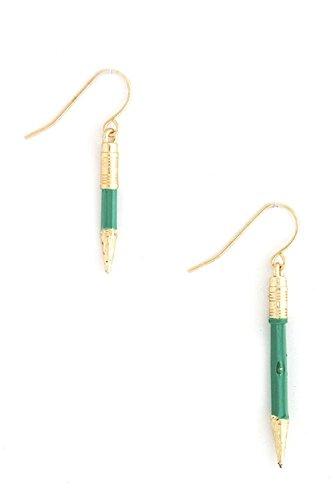 DIVA & DUCHESS UNEVEN LENGTH SHARPENED PENCIL EARRING (Green)