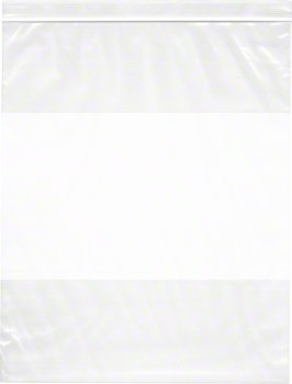 12'' x 15'', 4 Mil (Case of 500) Heavy Duty Plastic Reclosable Zipper Bags w/ White Block by Plymor