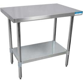 (BK Resources VTT-3024 18 Gauge Stainless Steel Flat Top Table with Galvanized Undershelf and Legs, 30