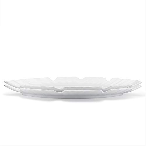 Q Squared Zen Collection 2-piece Gift Set, Small and Large Leaf-shaped Platters for Entertaining and Everyday Use, BPA-Free Melamine, White