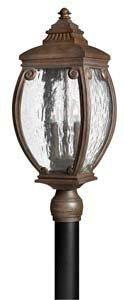 Hinkley 1941FZ Forum Cast Outdoor Lantern Fixture, French Bronze Finish - Water Seedy Glass Panels