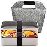 Microwave Lunch Box - Bento Box ,BOQUN 2 Lier Lunch Box, 1200ML Food Storage Container, Stackable Meal Prep with Cutlery and A Insulated Bag, Leakproof, Dishwasher Safe, Microwave Safe
