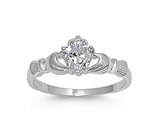 .925 Sterling Silver Claddagh Ring with Clear Color Cz Heart Stone Size 4,5,6,7,8,9,10; Comes with Free Gift Box (10)