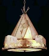 Meyda Tiffany 50150 Teepee with Buffalo Pendant Light Fixture, 20