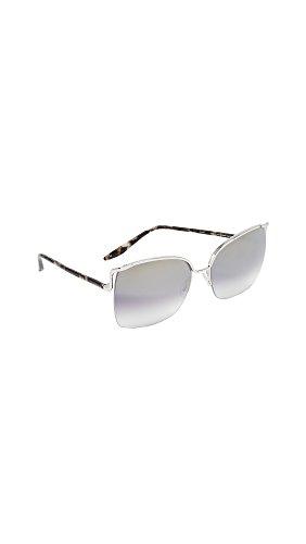 Barton Perreira Women's Satdha Sunglasses, Orion Marble/Smolder Silver, One - Square Barton Shops