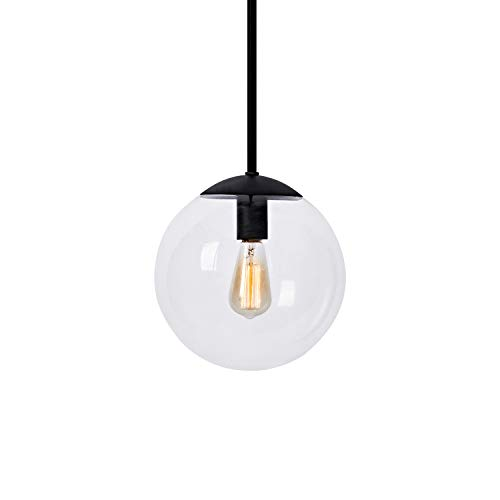 MOTINI Contemporary Globe Pendant Light, Black Finish with Clear Glass Shade, Adjustable Height Hanging Light Fixture for Kitchen Island, Dining Room, UL Listed