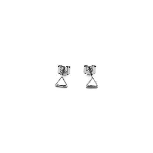 (HONEYCAT Mini Outline Triangle Stud Earring in Rhodium Plate | Minimalist, Delicate Jewelry (Silver))