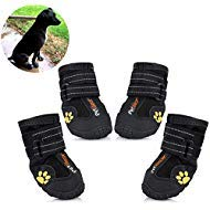 - Petilleur Waterproof Dog Shoes Breathable Paws Protector Anti-Skid Dog Boots with Reflective Strap Pet Winter Warm Snow Boots for Small, Medium and Large Dogs (#6)