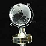 (Round Earth Globe World Map Crystal Glass Clear Paperweight Stand Desk Decor)