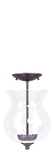 Livex Bronze Flush Mount Light Fixture - Livex Lighting 4393-07 Convertible Flush Mount with Clear Glass Shades, Bronze