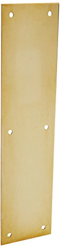 Baldwin 2121 3 Inch x 12 Inch Solid Brass Square Edge Push Plate, Non-Lacquered ()