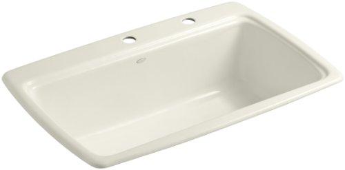 (KOHLER K-5863-2-96 Cape Dory Self-Rimming Kitchen Sink, Biscuit)