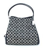 COACH Women's Madison Op Art Sateen Small Phoebe Silver/Black White/Black Shoulder Bag