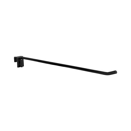 - 8 Pack Merchandise Display Hooks - 16'' Length Black Display Hooks Designed for Universal Cross Bar. Simple Assembly, Secure Curved Tip, Strong Steel