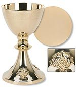 Grape Cluster Design Chalice and Paten Set Brass/kt Gold Plate by US Gifts