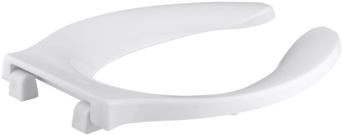 Kohler Toilet Seat Cover (KOHLER K-4731-C-0 Stronghold Elongated Toilet Seat with Integrated Handle and Check Hinge, White)