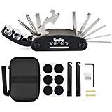 WOTOW Bike Repair Set Bag Bicycle Multi Function 16 in 1 Tool Kit Hex Key Wrench Tire Patch Lever Portable Handy Multi Tool Maintenance Fix Mini Set for Road Mountain Bikes (16 in 1)
