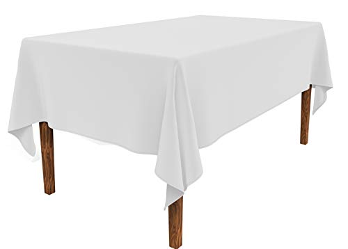 - JESELRY Thicken Rectangle Tablecloth - Stain Resistant Restaurant Washable Polyester Table Cloth Wrinkle Resistant Rectangular Table Cover Spillproof Tablecloth for Dining Room (White, 60X102 Inch)