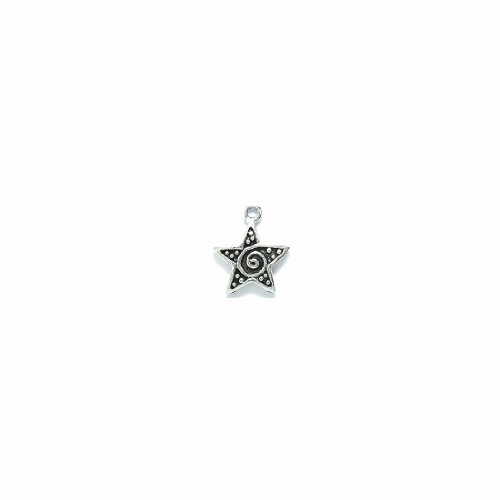 Shipwreck Beads Pewter Star Pendant with Dots/Swirls, Metallic, Silver, 15 by 17mm, - Bead Focal Dot