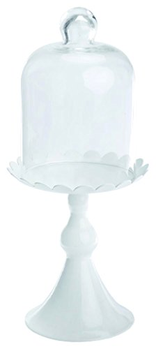 Boston International J'aime Paris Tall Cupcake Stand with Glass Lid, 11.5-Inch, White
