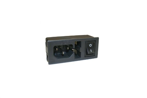 Interpower 83510160 Three Function Single Fused Power Entry Module, C14 Inlet, Single Fused, Switch, 1-2mm Panel Thickness, 10A/6A Current Rating, 250VAC Voltage Rating