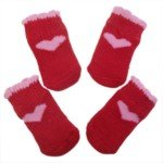 Warm Winter Nonskid Heart Patterm Pet Dog Shoes Socks-Size S(Red)