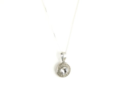223 Caliber Recycled Nickel Plated Brass Bullet Sterling Silver Necklace ()